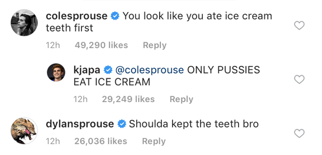 Cole and Dylan Sprouse roast KJ Apa's baby picture