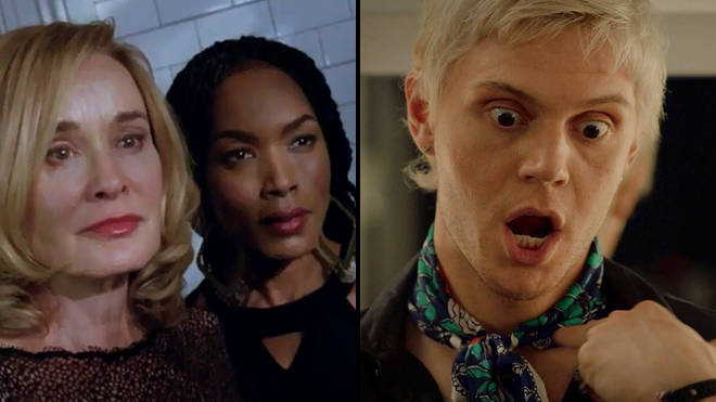 Fiona Goode (Jessica Lange), Marie Laveau (Angela Bassett) and Mr. Gallant (Evan Peters) in 'American Horror Story'