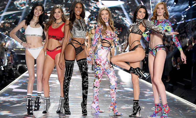 Ming Xi, Grace Elizabeth, Cindy Bruna, Gigi Hadid, Kendall Jenner, and Alexina Graham walk the runway during the 2018 Victoria's Secret Fashion Show