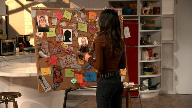 iCarly reboot: The murder board features pictures of Ms Briggs and Lewbert