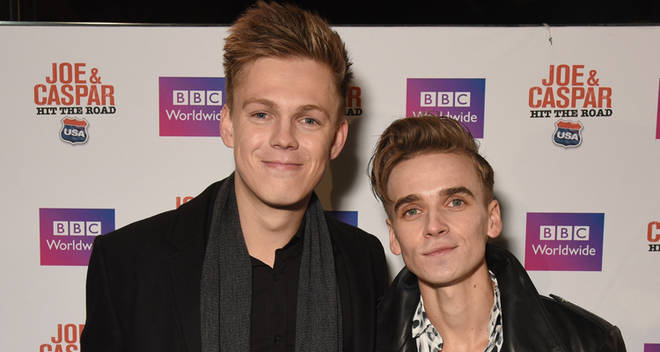 LONDON, ENGLAND - NOVEMBER 17: Caspar Lee and Joe Suggs attend the UK premiere of 'Joe And Caspar Lee Hit The Road USA' at Cineworld Leicester Square on November 17, 2016 in London, United Kingdom. (Photo by Dave J Hogan/Getty Images)