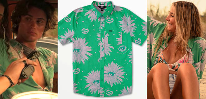 Where to buy Sarah Cameron's green floral print shirt in Outer Banks 2