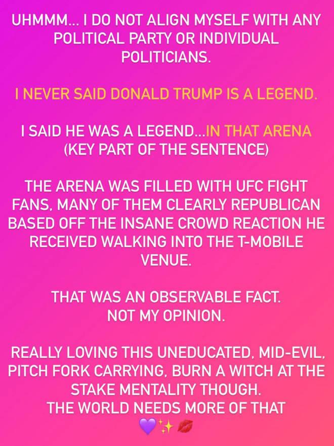 """Megan Fox shares statement after Trump """"legend"""" comment backlash"""