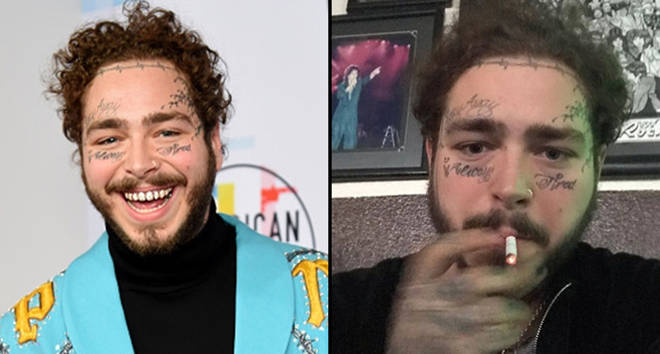 Post Malone attends the 2018 American Music Awards at Microsoft Theater/Post Malone smoking a cigarette