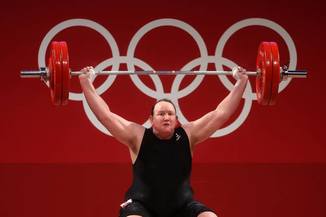Laurel Hubbard of Team New Zealand competes during the Weightlifting - Women's 87kg+ Group A