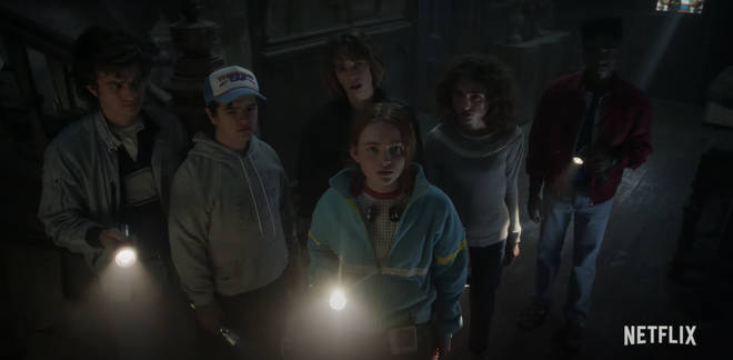 Steve, Dustin, Robin, Max, Nancy and Lucas investigate a creepy old house in Stranger Things 4