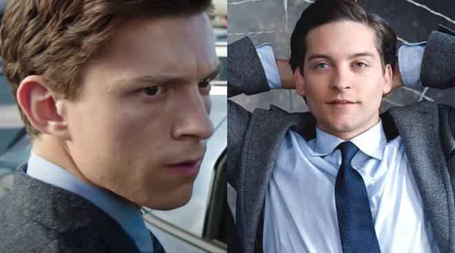Tom Holland and Tobey Maguire as Peter Parker