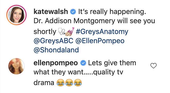 Ellen Pompeo responds to Kate Walsh's Grey's Anatomy return