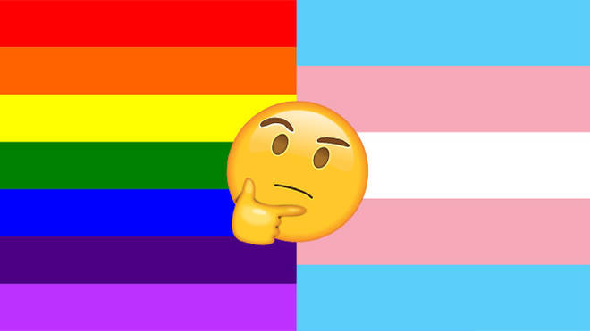 Gay Pride flag and Transgender Pride flag