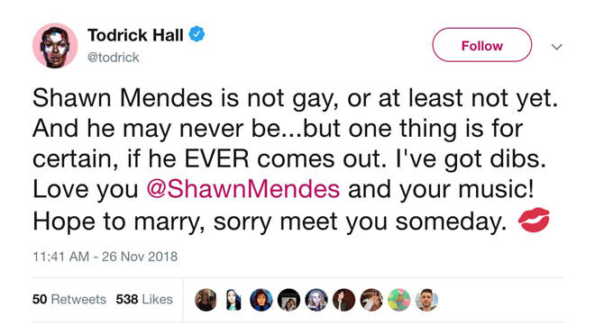 "Todrick Hall&squot;s ""Shawn Mendes is not gay..."" tweet"