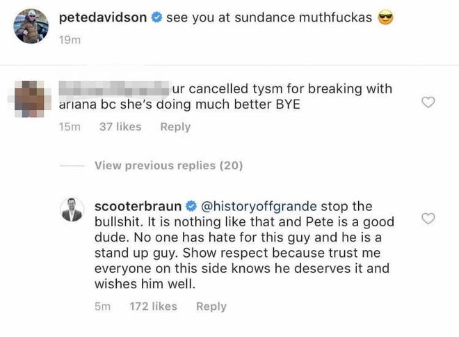 Scooter Braun comments on Pete Davidson picture