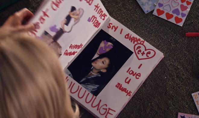 Pete Davidson's page in Ariana Grande's burn book