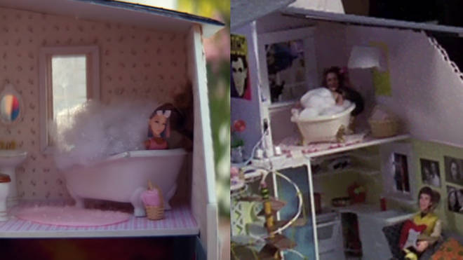 The 'thank u, next' dollhouse even features paper doll Ariana in the bath like Jenna Rink