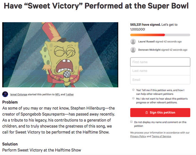 SpongeBob petition screenshot