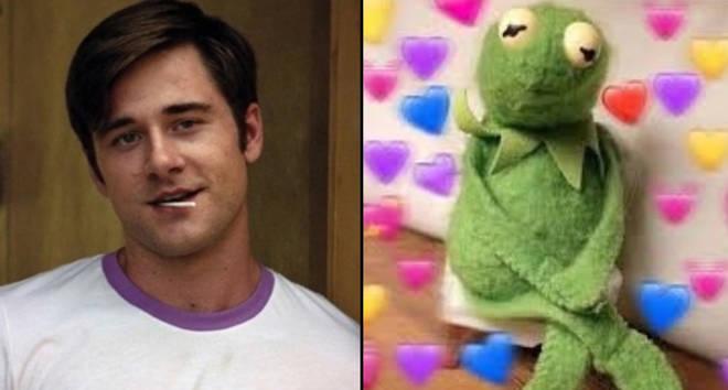 Luke Benward as Bo Larson in Dumplin/Kermit heart meme.