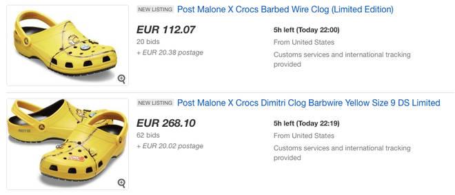 Ebay screenshot of Post Malone's Crocs