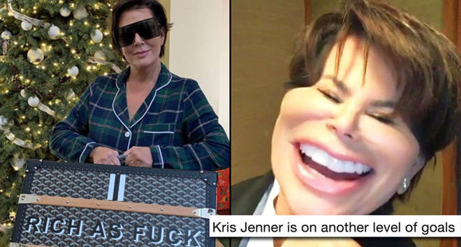 "Kris Jenner with ""Rich as Fuck"" trunk/laughing"