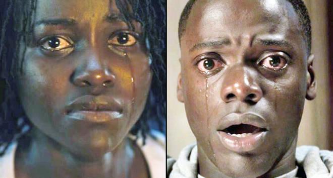 Lupita N'yongo crying in Us/Daniel Kaluuya in Get Out