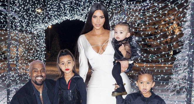 Kim Kardashian, Kanye West, North West, Chicago West and Saint West at the Kar-Jenner Christmas Eve party.