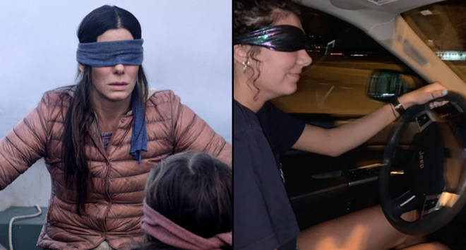 Malorie in Bird Box/Woman doing 'Bird Box challenge'