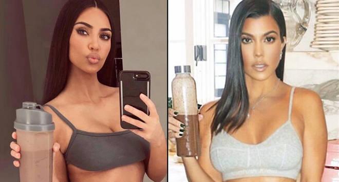Kim and Kourtney Kardashian holding up diet shakes