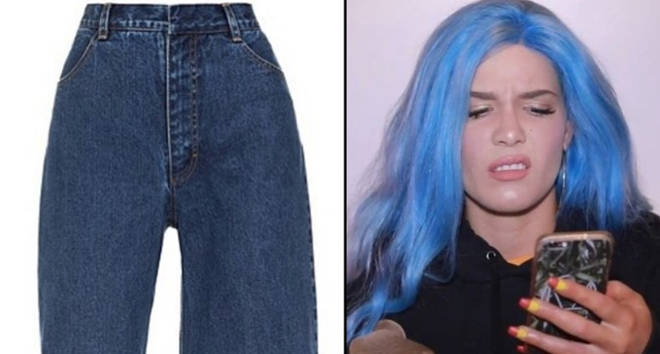 Asymmetric jeans/Halsey looking at her phone.
