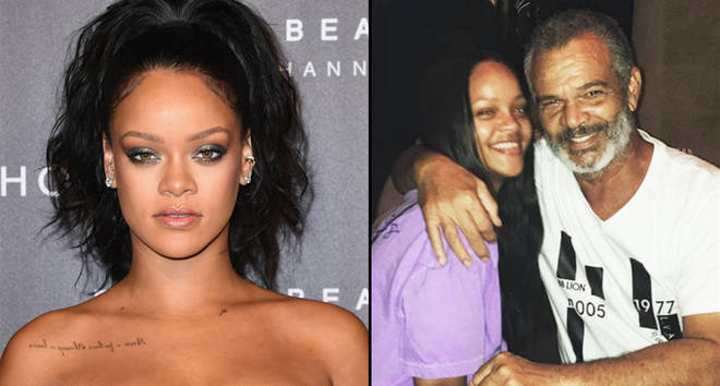 Rihanna attends the Fenty Beauty by Rihanna Paris launch party/hugging her father Ronald Fenty