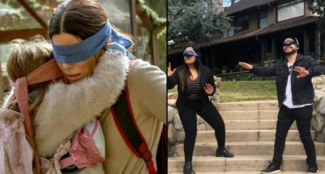 Sandra Bullock in Bird Box with Boy and Girl/Two people outside the house.