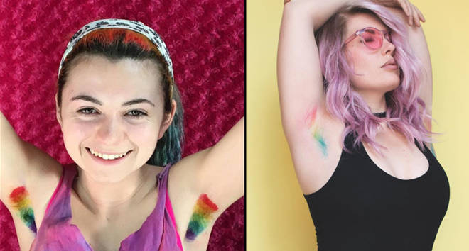 Two women with rainbow/unicorn armpit hair.