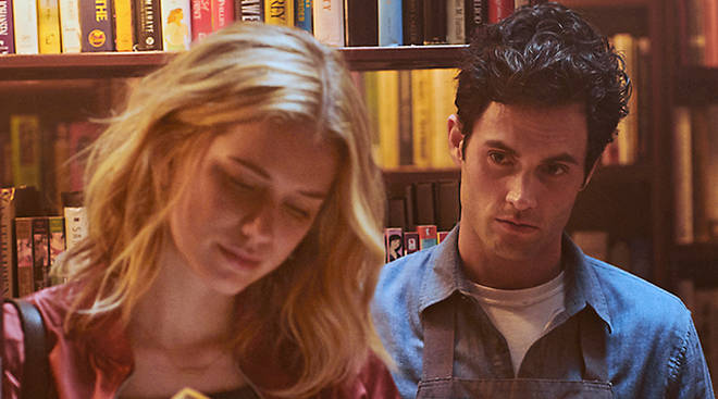 Elizabeth Lail and Penn Badgley in Netflix's 'You'