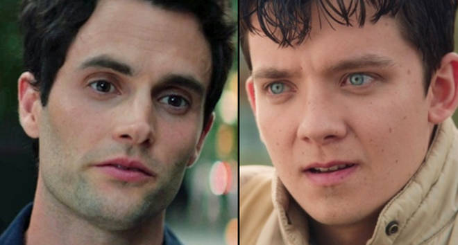 Penn Badgley in 'You' and Asa Butterfield in 'Sex Education'.
