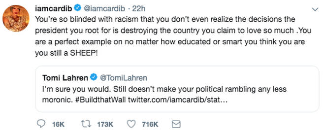 Cardi B responds to Tomi Lahren