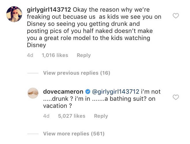 Dove Cameron responds to complaints about her bikini Instagram post