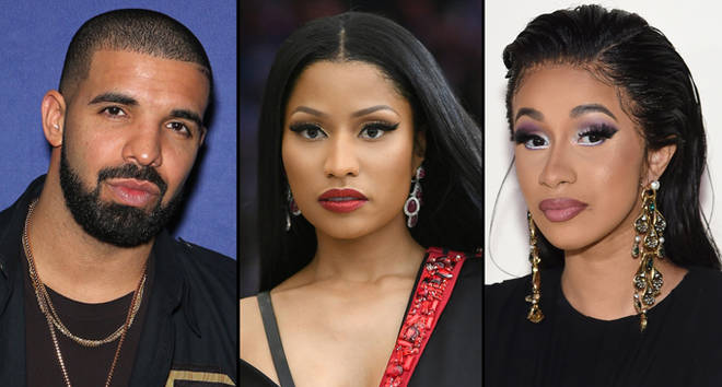 Drake, Nicki Minaj and Cardi.