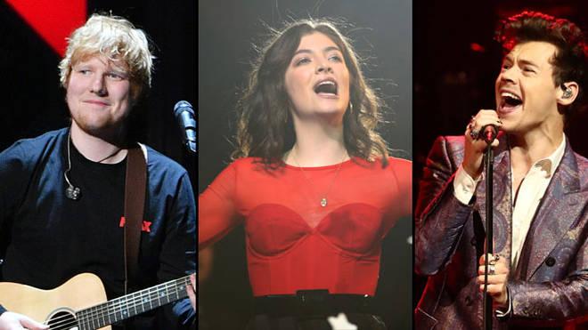 Ed Sheeran, Lorde, Harry Styles