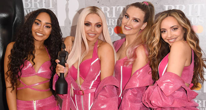 Perrie Edwards, Jesy Nelson, Jade Thirlwall and Leigh-Anne Pinnock of 'Little Mix' in the winners room during The BRIT Awards 2019