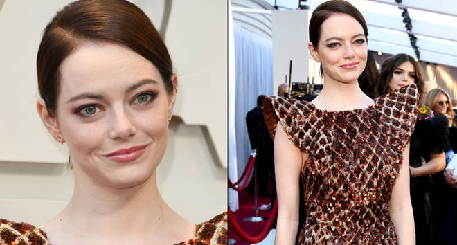 Emma Stone arrives for the 91st Annual Academy Awards.