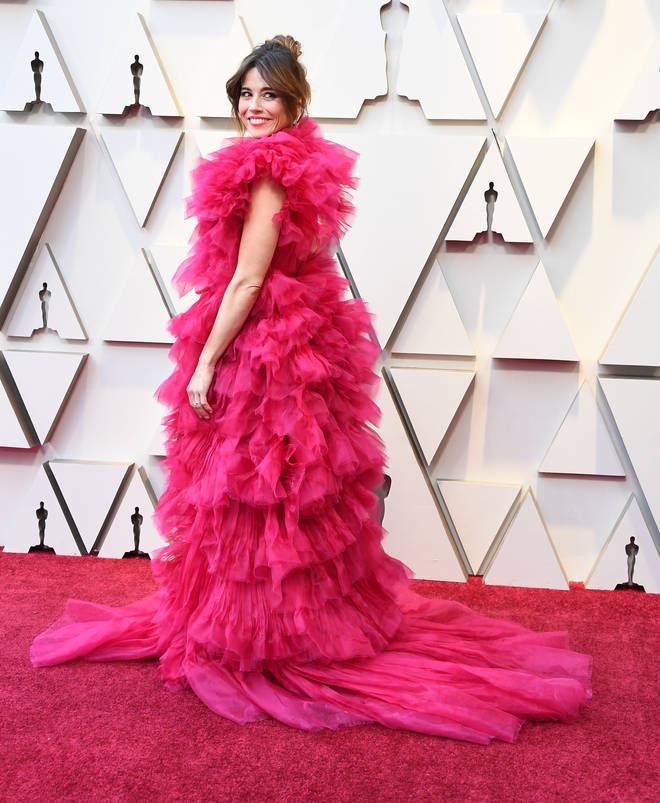 Linda Cardellini arrives at the 91st Annual Academy Awards.