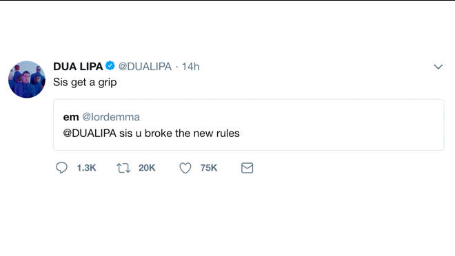 Dua Lipa, Broken Rules, Tweet New Rules