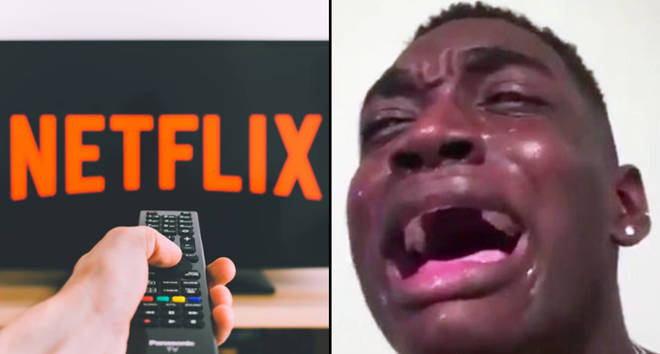 Netflix on a TV screen/A man crying.