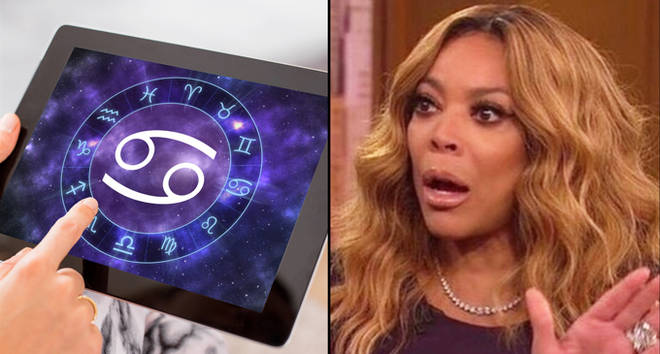 Cancer zodiac sign on tablet/Wendy Williams shocked