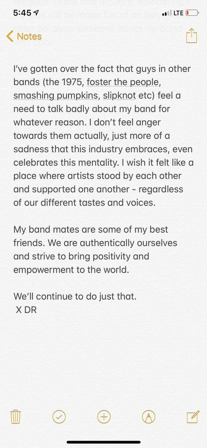 Dan Reynolds open letter about Imagine Dragons criticism