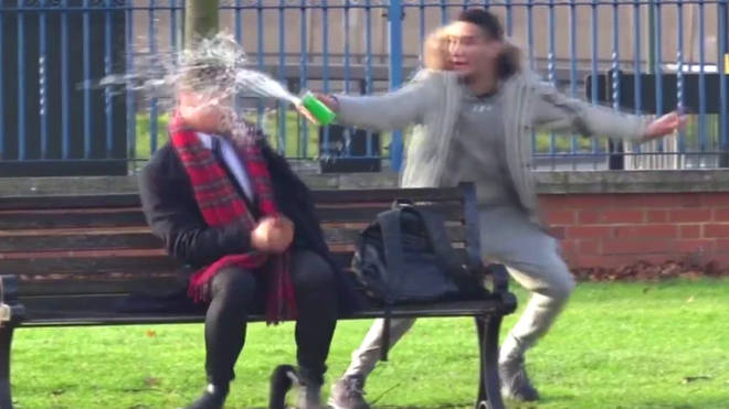 Arya Mosallah throws water in people's faces for a prank