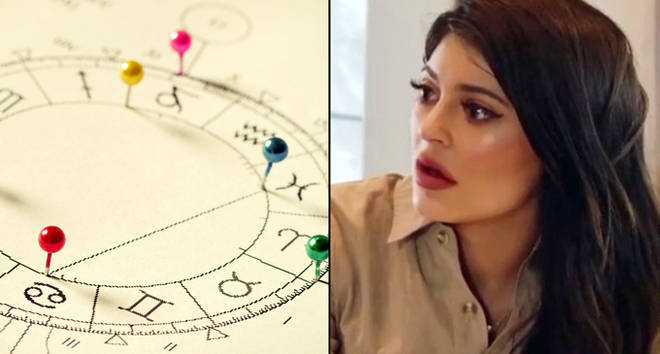 Close up of natal chart/Kylie Jenner shocked.