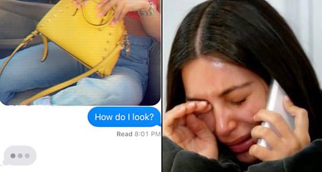 Challenge text/Kim Kardashian crying on the phone