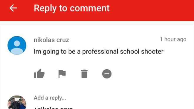 Comment left by Nikolas Cruz on Ben Bennight's YouTube video