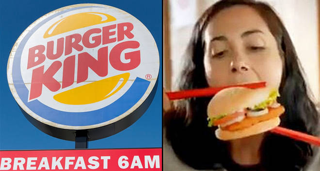 Burger King Restaurant Signage/woman eating a burger with chopsticks