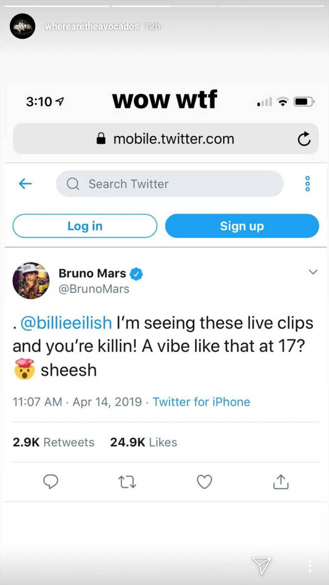 Billie Eilish Bruno Mars tweet