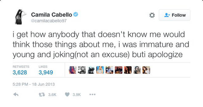 Camila Cabello Apology Tweet