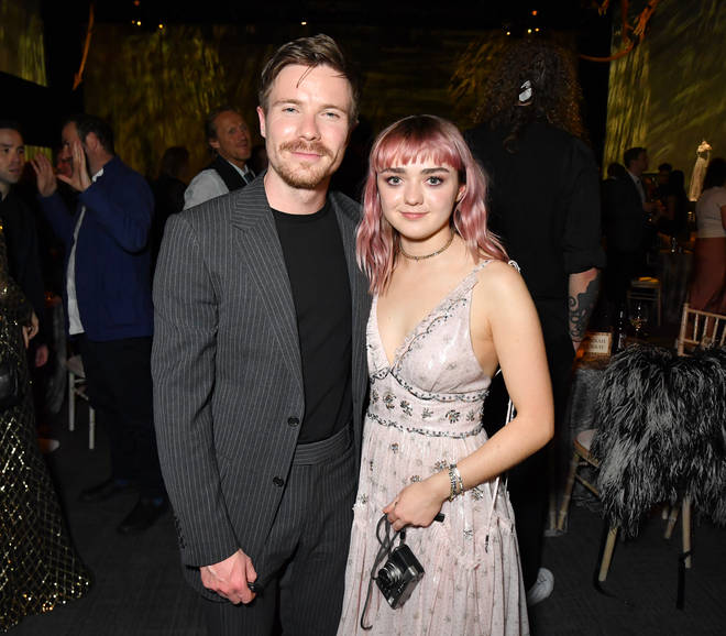 Maisie Williams and Joe Dempsie pose at the Belfast Premiere for Game of Thrones